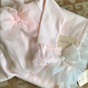 Pink lace bow footies and blanket